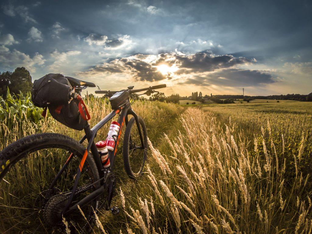 Cykel i solnedgång