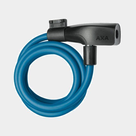 Spirallås AXA Resolute, 120 cm, Ø8 mm, blå, inkl. fäste