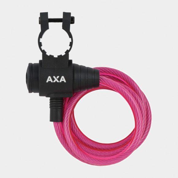 Spirallås AXA Zipp, 120 cm, Ø8 mm, rosa, inkl. fäste