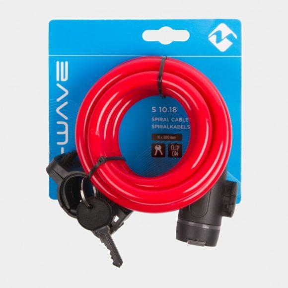 Spirallås M-Wave S 10.18, 180 cm, Ø10 mm, röd, inkl. fäste
