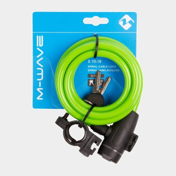 Spirallås M-Wave S 10.18, 180 cm, Ø10 mm, grön, inkl. fäste