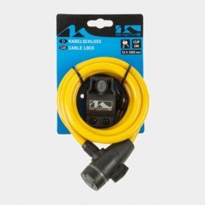 Spirallås M-Wave S 10.18, 180 cm, Ø10 mm, gul, inkl. fäste