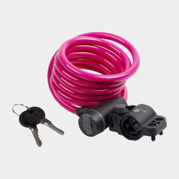Spirallås M-Wave S 10.18, 180 cm, Ø10 mm, rosa, inkl. fäste