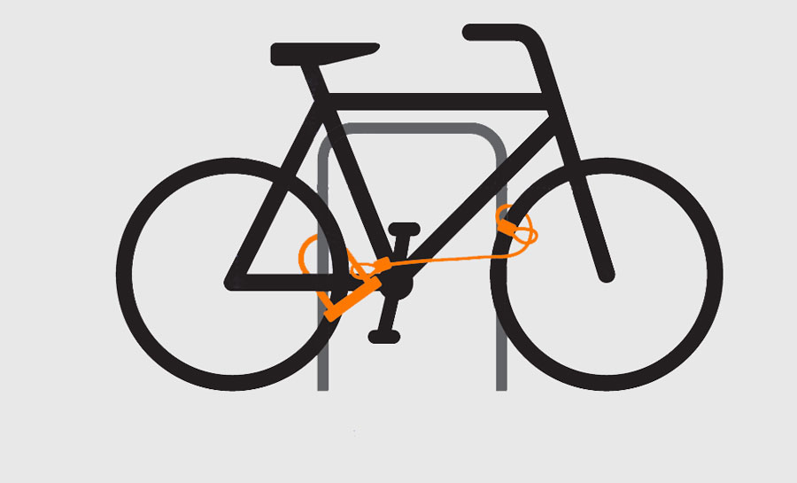 cykel låst med bygellås och låsvajer