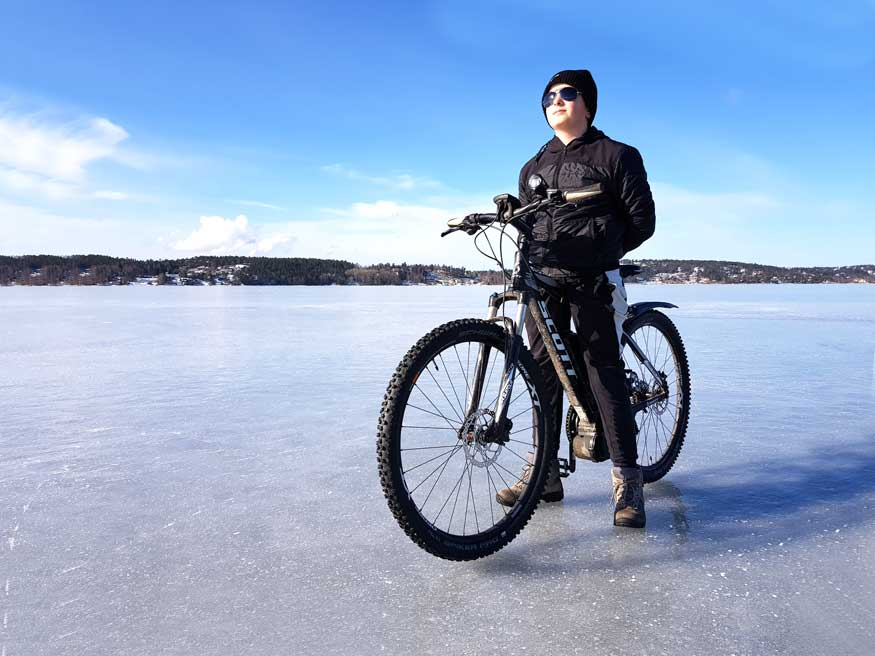 cyklist på is