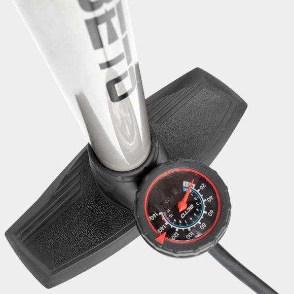 Fotpump BETO 11/160 Alu, med analog tryckmätare (manometer)