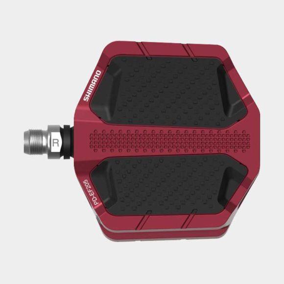 Pedaler Shimano EF205, 1 par, Plattformspedaler, röd