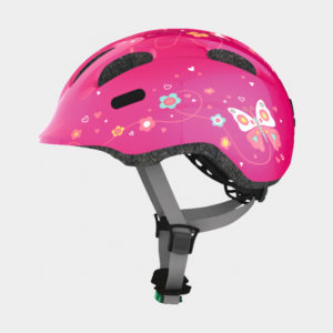 Cykelhjälm ABUS Smiley 2.0 Pink Butterfly, grönt spänne, Medium (50 - 55 cm)