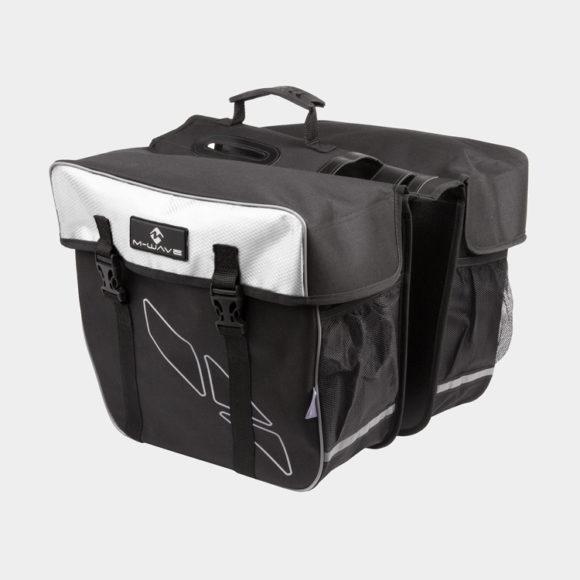 Pakethållarväskor M-Wave Amsterdam Double, 2 x 15 liter, svart/vit