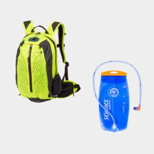 Cykelryggsäck M-Wave Rough Ride Back, 15 liter, neongul, inkl. vätskebehållare (2 liter)