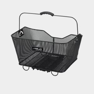 Cykelkorg XLC BA-B04, aluminium, på pakethållaren, med handtag, svart