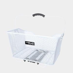 Cykelkorg XLC BA-B04, aluminium, på pakethållaren, med handtag, vit