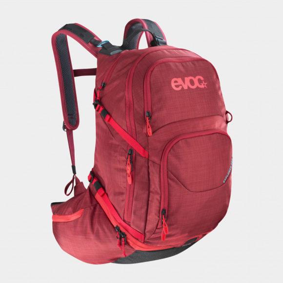 Cykelryggsäck EVOC Explorer Pro Heather Ruby, förberedd för vätskebehållare, 26 liter, röd