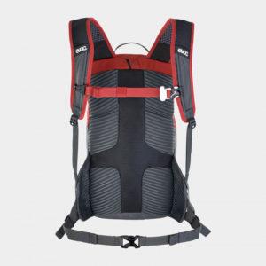 Cykelryggsäck EVOC Ride Chili Red/Carbon Grey, förberedd för vätskebehållare, 12 liter