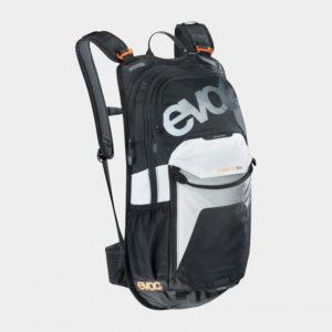 Cykelryggsäck EVOC Stage Carbon Grey/Chili Red, förberedd för vätskebehållare, 12 liter