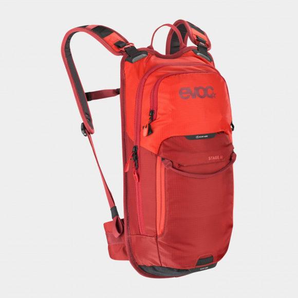 Cykelryggsäck EVOC Stage Orange/Chili Red, förberedd för vätskebehållare, 6 liter