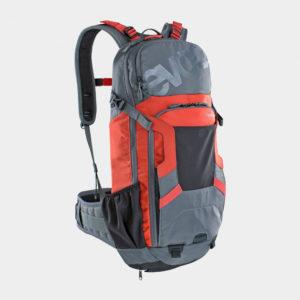 Cykelryggsäck med ryggskydd EVOC FR Enduro Carbon Grey/Chili Red, förberedd för vätskebehållare, 16 liter, Medium/Large