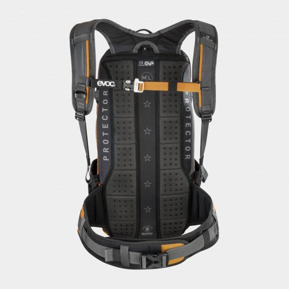 Cykelryggsäck med ryggskydd EVOC FR Enduro Carbon Grey/Loam, förberedd för vätskebehållare, 16 liter, Medium/Large