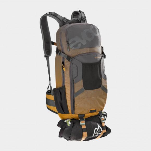 Cykelryggsäck med ryggskydd EVOC FR Enduro Carbon Grey/Loam, förberedd för vätskebehållare, 16 liter, Small