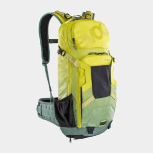 Cykelryggsäck med ryggskydd EVOC FR Enduro Moss Green/Olive, förberedd för vätskebehållare, 16 liter, Medium/Large