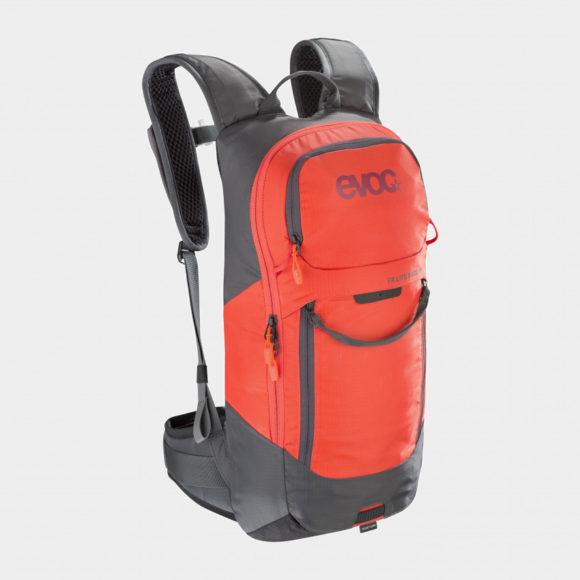 Cykelryggsäck med ryggskydd EVOC FR Lite Race Carbon Grey/Orange, förberedd för vätskebehållare, 10 liter, Small
