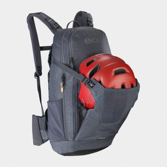 Cykelryggsäck med ryggskydd EVOC Neo Carbon Grey, förberedd för vätskebehållare, 16 liter, Medium/Large