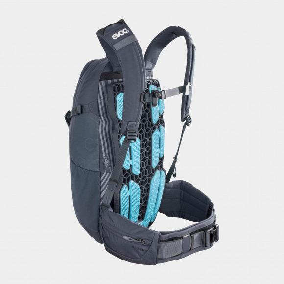 Cykelryggsäck med ryggskydd EVOC Neo Carbon Grey, förberedd för vätskebehållare, 16 liter, Small/Medium