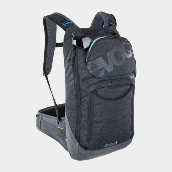 Cykelryggsäck med ryggskydd EVOC Trail Pro Black/Carbon Grey, förberedd för vätskebehållare, 10 liter, Large/X-Large
