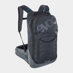 Cykelryggsäck med ryggskydd EVOC Trail Pro Black/Carbon Grey, förberedd för vätskebehållare, 10 liter, Small/Medium