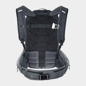 Cykelryggsäck med ryggskydd EVOC Trail Pro Black/Carbon Grey, förberedd för vätskebehållare, 16 liter, Small/Medium
