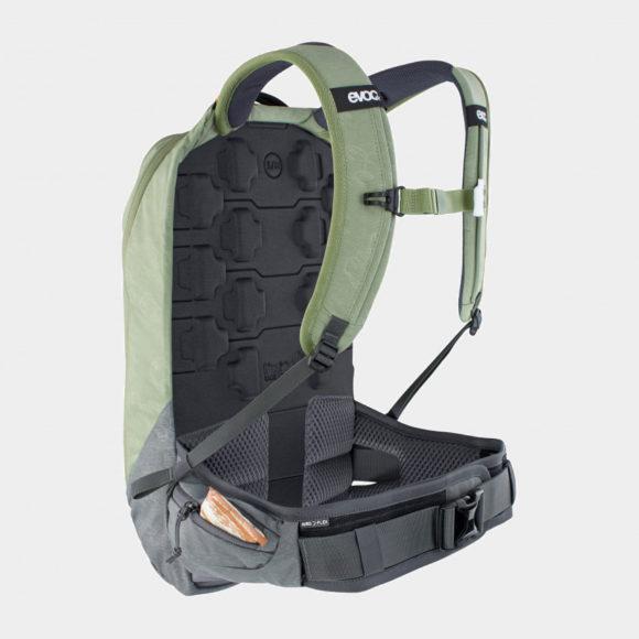 Cykelryggsäck med ryggskydd EVOC Trail Pro Light Olive/Carbon Grey, förberedd för vätskebehållare, 10 liter, Large/X-Large