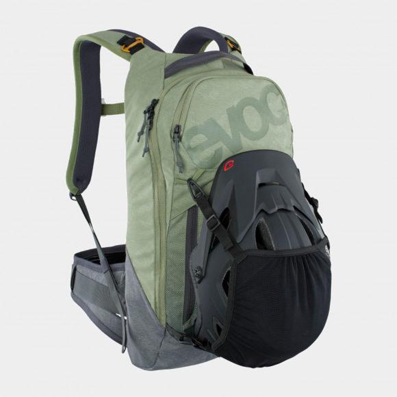 Cykelryggsäck med ryggskydd EVOC Trail Pro Light Olive/Carbon Grey, förberedd för vätskebehållare, 10 liter, Small/Medium