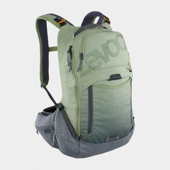 Cykelryggsäck med ryggskydd EVOC Trail Pro Light Olive/Carbon Grey, förberedd för vätskebehållare, 16 liter, Large/X-Large