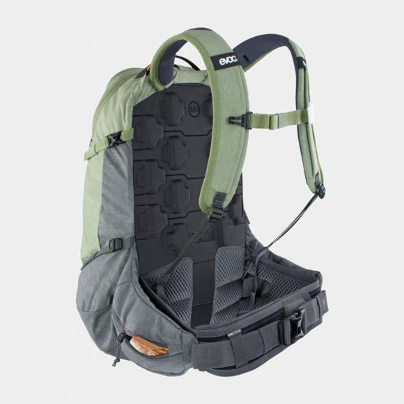 Cykelryggsäck med ryggskydd EVOC Trail Pro Light Olive/Carbon Grey, förberedd för vätskebehållare, 26 liter, Large/X-Large