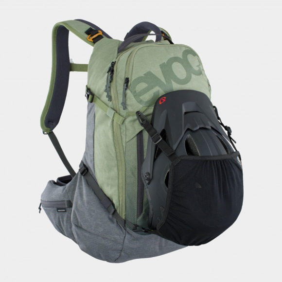 Cykelryggsäck med ryggskydd EVOC Trail Pro Light Olive/Carbon Grey, förberedd för vätskebehållare, 26 liter, Small/Medium