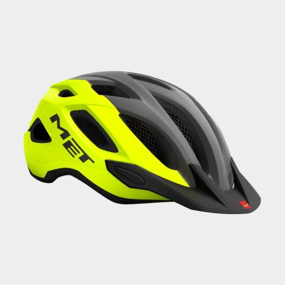 Cykelhjälm MET Crossover Safety Yellow Grey/Glossy, Medium (52 - 59 cm)
