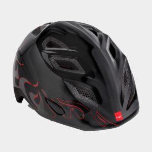 Cykelhjälm MET Elfo Black Flames/Glossy, grönt spänne, Universal (46 - 53 cm)