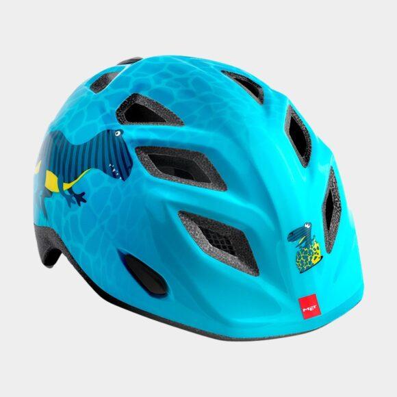 Cykelhjälm MET Elfo Blue Dinosaurs/Glossy, Universal (46 - 53 cm)