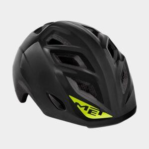 Cykelhjälm MET Elfo Black/Glossy, grönt spänne, Universal (46 - 53 cm)