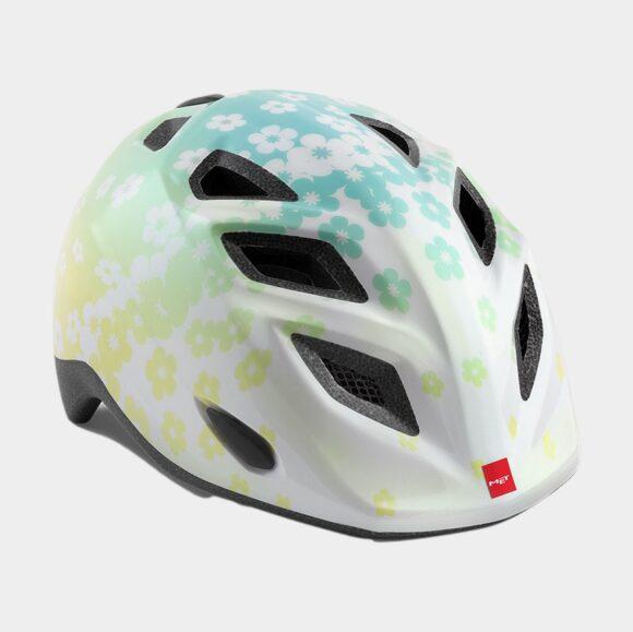 Cykelhjälm MET Genio Iridescent White Flowers/Glossy, grönt spänne, Universal (52 - 57 cm)