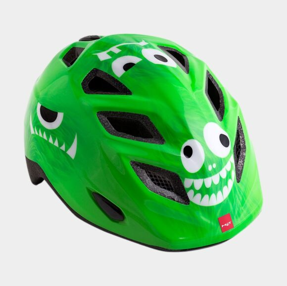 Cykelhjälm MET Elfo Green Monsters/Glossy, grönt spänne, Universal (46 - 53 cm)