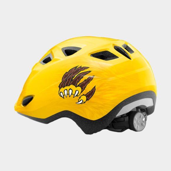Cykelhjälm MET Elfo Yellow Lion/Glossy, grönt spänne, Universal (46 - 53 cm)