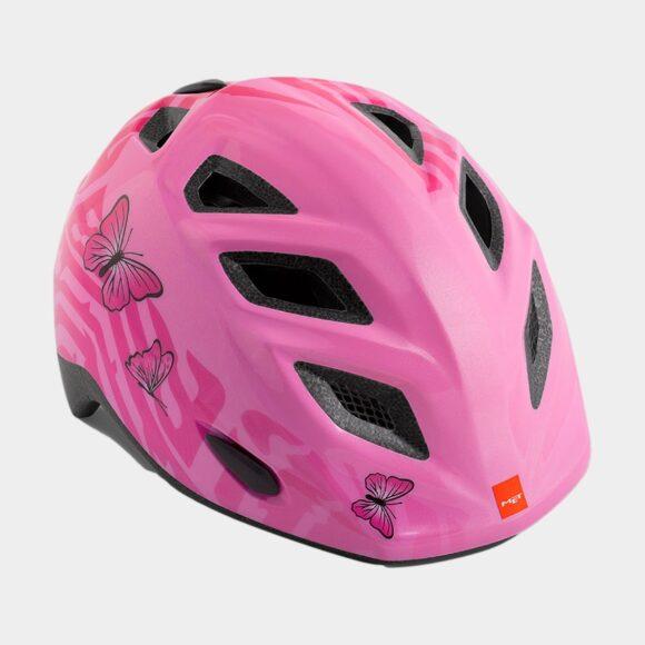 Cykelhjälm MET Elfo Pink Butterflies/Glossy, grönt spänne, Universal (46 - 53 cm)
