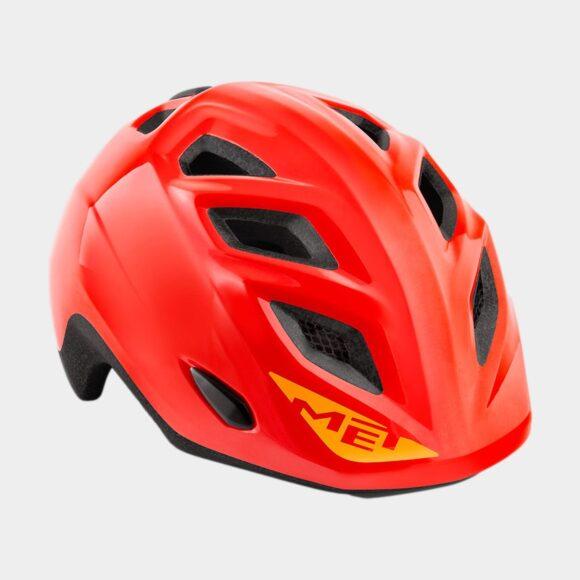 Cykelhjälm MET Elfo Red/Glossy, grönt spänne, Universal (46 - 53 cm)