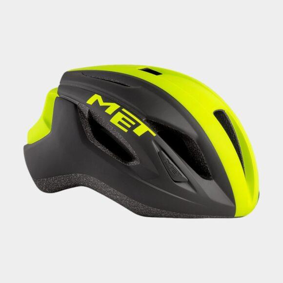 Cykelhjälm MET Strale Black Safety Yellow Panel/Matt, Medium (56 - 58 cm)