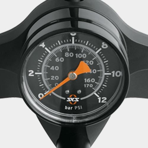 Fotpump SKS Rennkompressor, med analog tryckmätare (manometer)