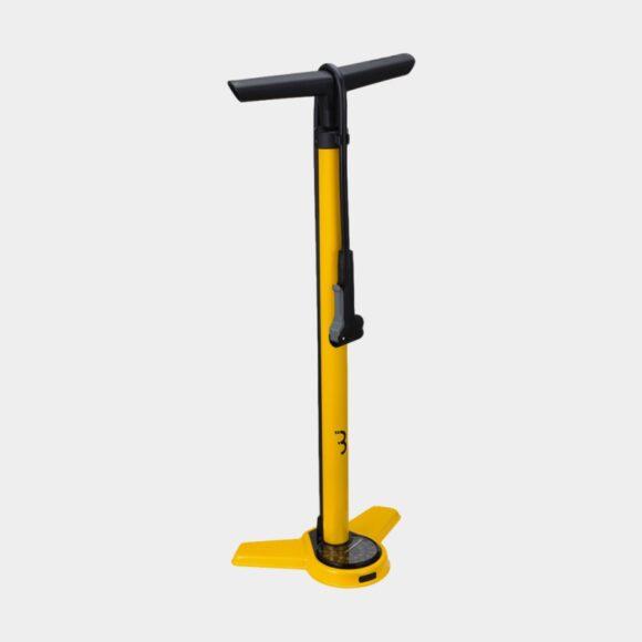 Fotpump BBB AirSteel, med analog tryckmätare (manometer), med extra lång slang, gul