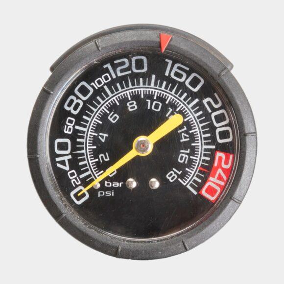 Fotpump M-Wave Air Bullet, med lufttank, med analog tryckmätare (manometer), med extra lång slang