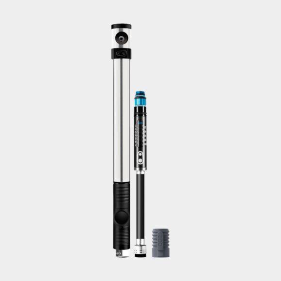 Kolsyrepump och minipump Crankbrothers Klic HP Gauge and CO2, med analog tryckmätare (manometer), med extern slang, silver + flaskhållarfäste