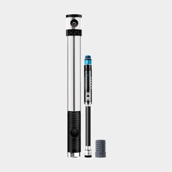 Kolsyrepump och minipump Crankbrothers Klic HV Gauge and CO2, med analog tryckmätare (manometer), med extern slang, silver + flaskhållarfäste